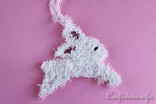Fuzzy Plastic Canvas Bunny Ornament