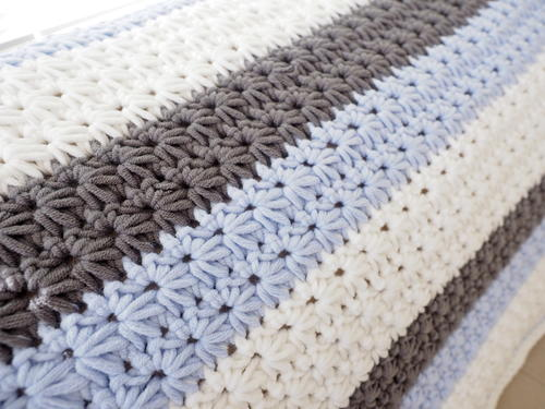 Star Stitch Striped Baby Blanket
