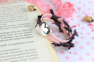 Double Layer Leather Bracelet with a Heart
