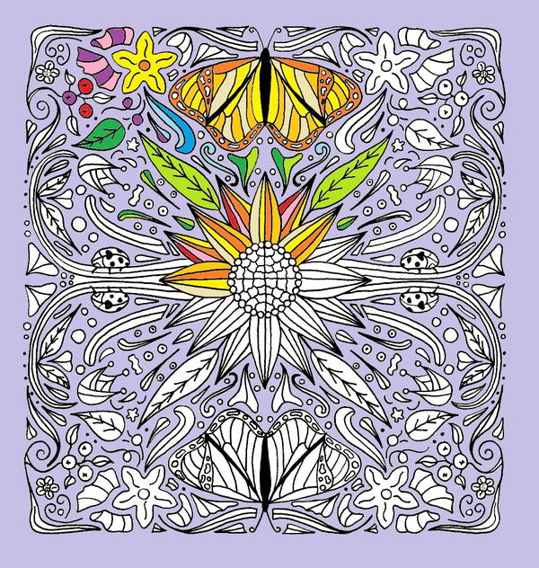Sunflower, Butterflies, and Ladybugs Mandala Coloring Page