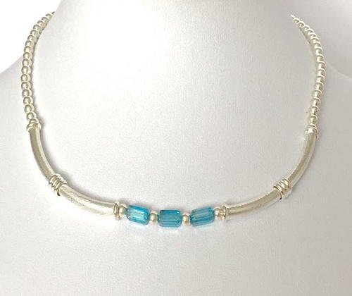 Double Silver Tube Necklace