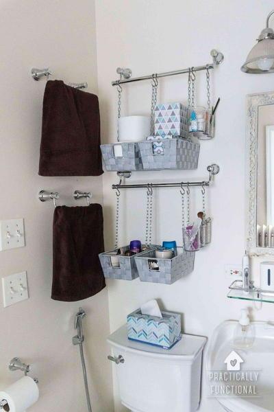 hanging baskets bathroom organization cheapthriftyliving com rh cheapthriftyliving com wall hanging baskets for bathroom storage wall hanging baskets for bathroom storage