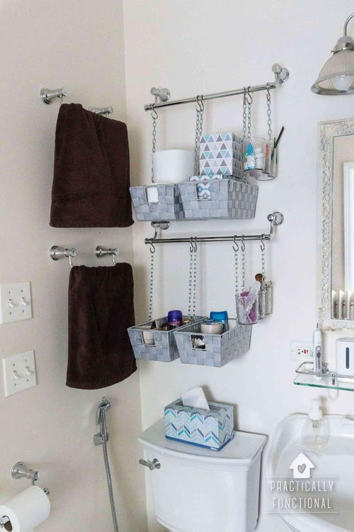 Hanging Baskets Bathroom Organization