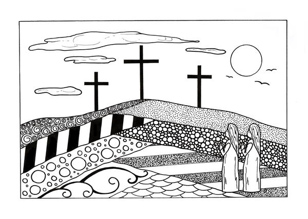 Golgotha Christian Coloring Page for Adults