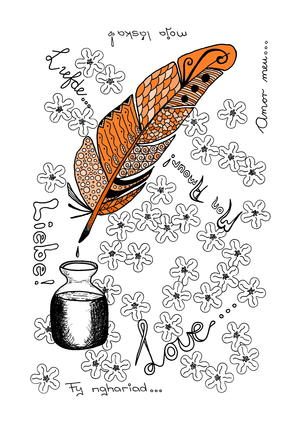 Vintage Quill Pen Adult Coloring Page
