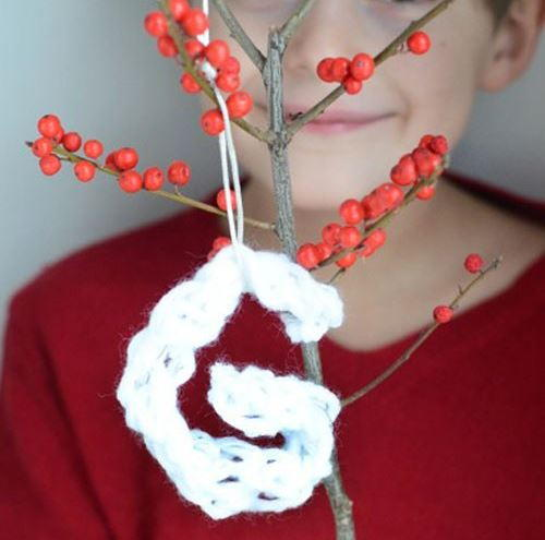 Finger Knit Letter Ornament