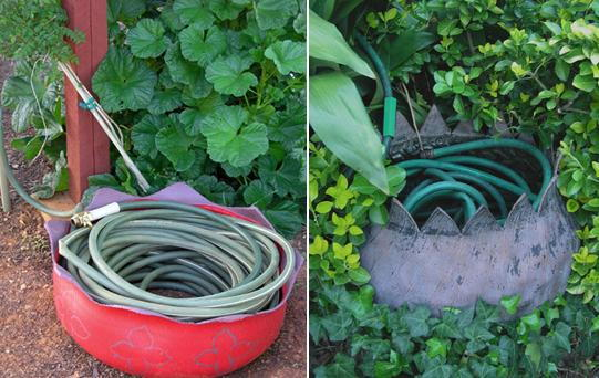 Tire Planter Hose Storage