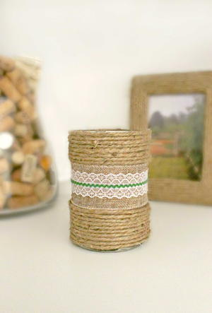 Decorated Candles with Burlap Ribbon and Twine