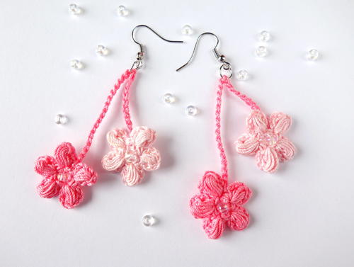 Crochet Cherry Blossom Earrings