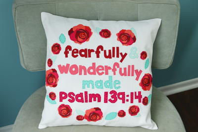 Fearfully  Wonderfully Made DIY Scripture Pillow