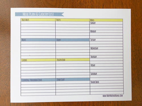 Weekly Meal Planner and Grocery List Printable