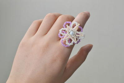 DIY Spring Flower Ring with Seed Beads_2