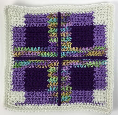 Purple Plaid Afghan Square