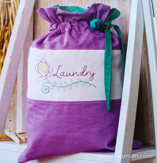 Travel Laundry Bag with Embroidery