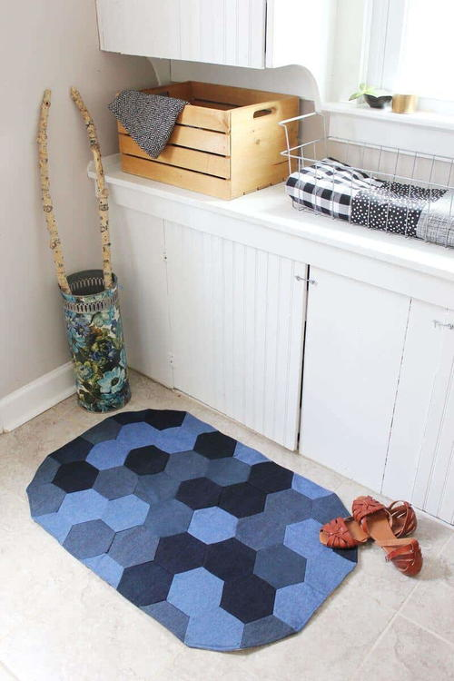 Upcycled Denim Hexagons Rug