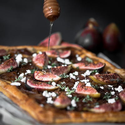 Caramelized Onion Tart with Roasted Figs and Feta