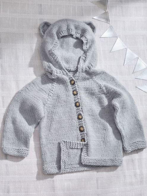 Baby Bear Hooded Cardigan Allfreeknitting Com