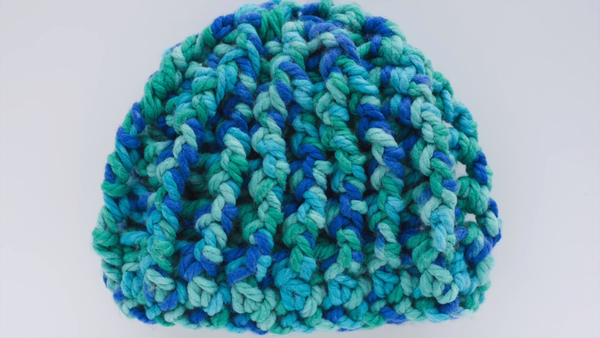 Image shows the Chunky Ribbed Crochet Hat.