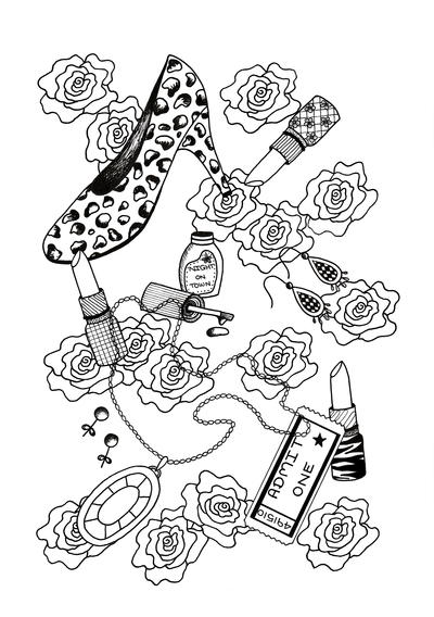 Night Out Adult Coloring Page