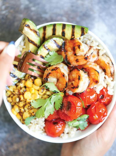 Summer Grilled Honey Shrimp Bowls