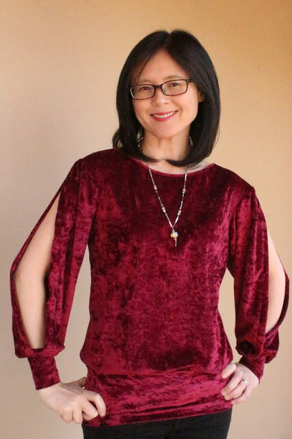Upcycled 90s-Style Velour Blouse