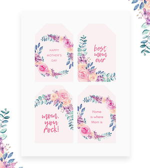 graphic regarding Free Printable Mothers Day Tags identified as No cost Printable Moms Working day Card Present Tags