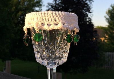 Lacy Beaded Wine Glass Cover
