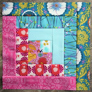 Summer Log Cabin Quilt Block Pattern