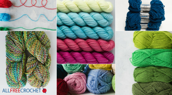 Image shows a collage of different types of yarn.