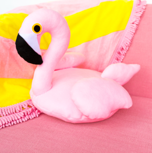 Splashy Flamingo Felt Pillow