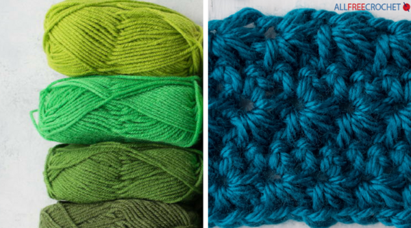 Image shows skeins of yarn on the left and a crochet swatch on the right.