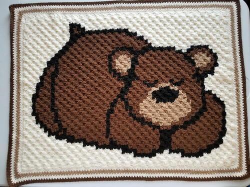 Crochet C2C Bernat Blanket Bear - Repeat Crafter Me | 375x500