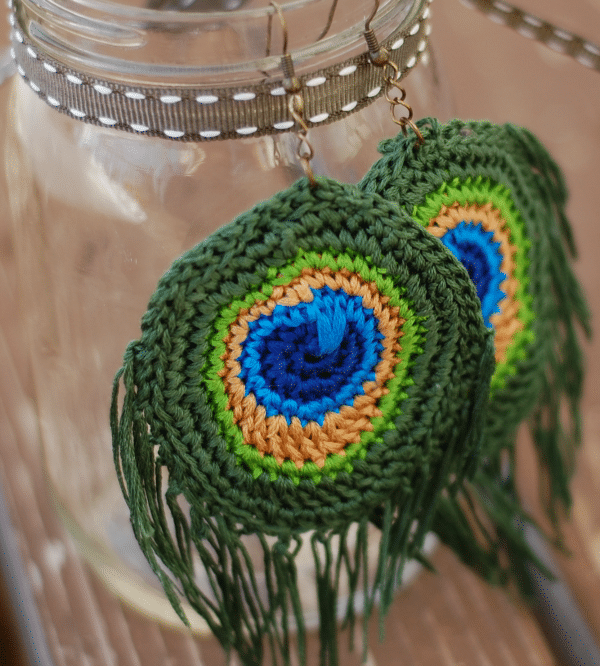 Peacock Crochet Earrings
