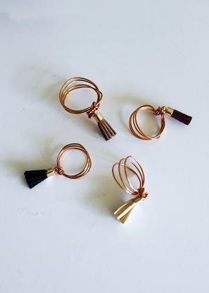 Easy DIY Wire Ring with Leather Tassels