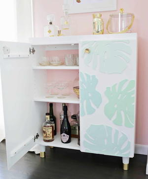 Ikea Hack Diy Bar Cabinet Cheapthriftyliving Com