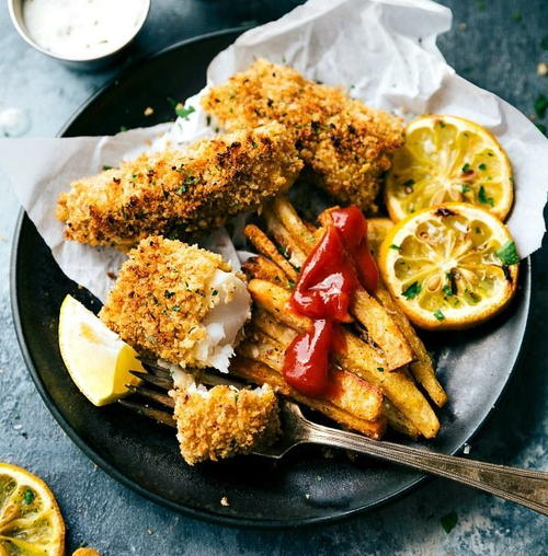 One Pan Easy Baked Fish and Chips