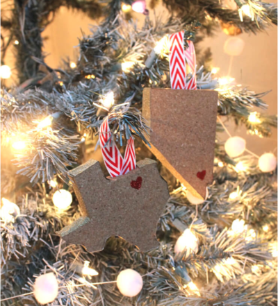 State Shaped Christmas Ornaments DIY