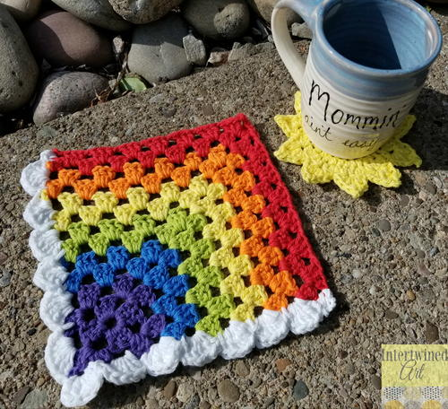 Happy Day Rainbow Dishcloth