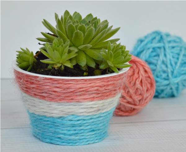 Dyed Yarn DIY Plant Pot