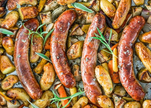 Baked Apples and Sausage Sheet Pan Dinner
