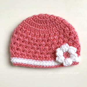 Baby's Lacy Springtime Beanie with Flower