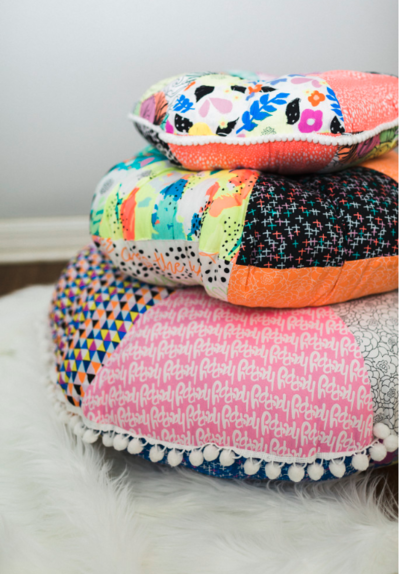 Pom Pom Patchwork Floor Pillow Pattern