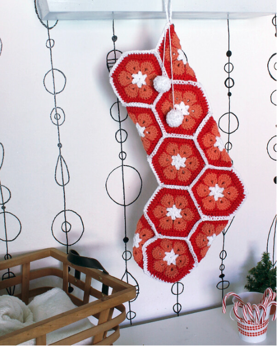 African Flower Hexagon Crochet Stocking Pattern
