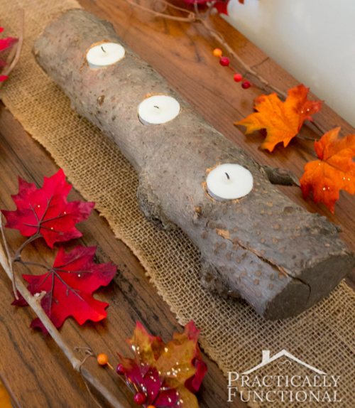 DIY Natural Log Centerpiece
