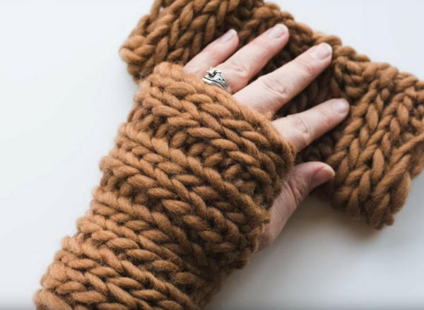 Knitted Wrist Warmer Pattern with Roving Yarn