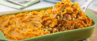 Turkey Shepherds Pie with Sweet Potato Topping