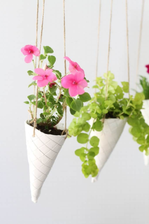 Ice Cream Cone DIY Hanging Planter