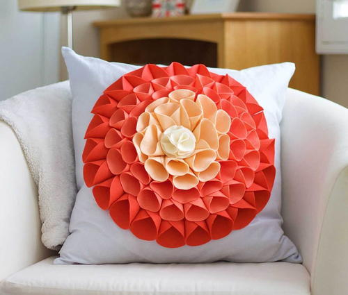 Ombre Blooms No-Sew Embellished Pillow