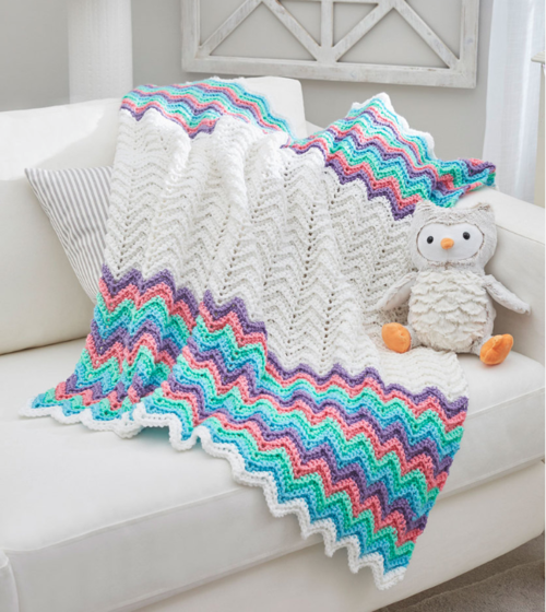 Rainbow Ripple Crochet Blanket Pattern