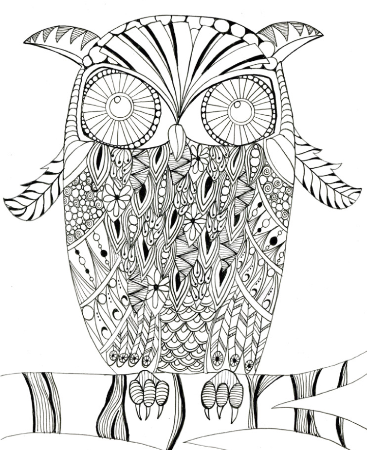 Printable Intricate Owl Coloring Page | FaveCrafts.com